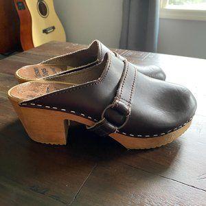 Olsson Clogs De Lux Sweden Brown Heel Clogs Leather Wooden Women's Size EU 38